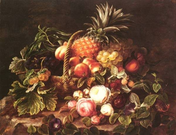 Danish 1800 to 1856 A Still Life Of A Basket Of Fruit And Roses SND 1842 O C 533 by 686 cm